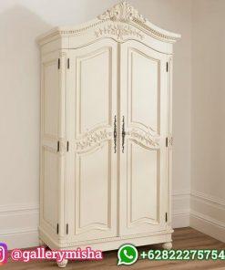 Lemari Pakaian 2 Pintu Rococo Putih